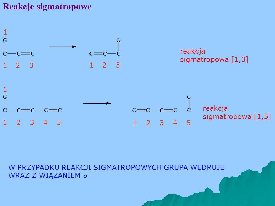 Reakcje sigmatropowe 1 reakcja sigmatropowa [1,3] 1 2 3 1 2 3 1